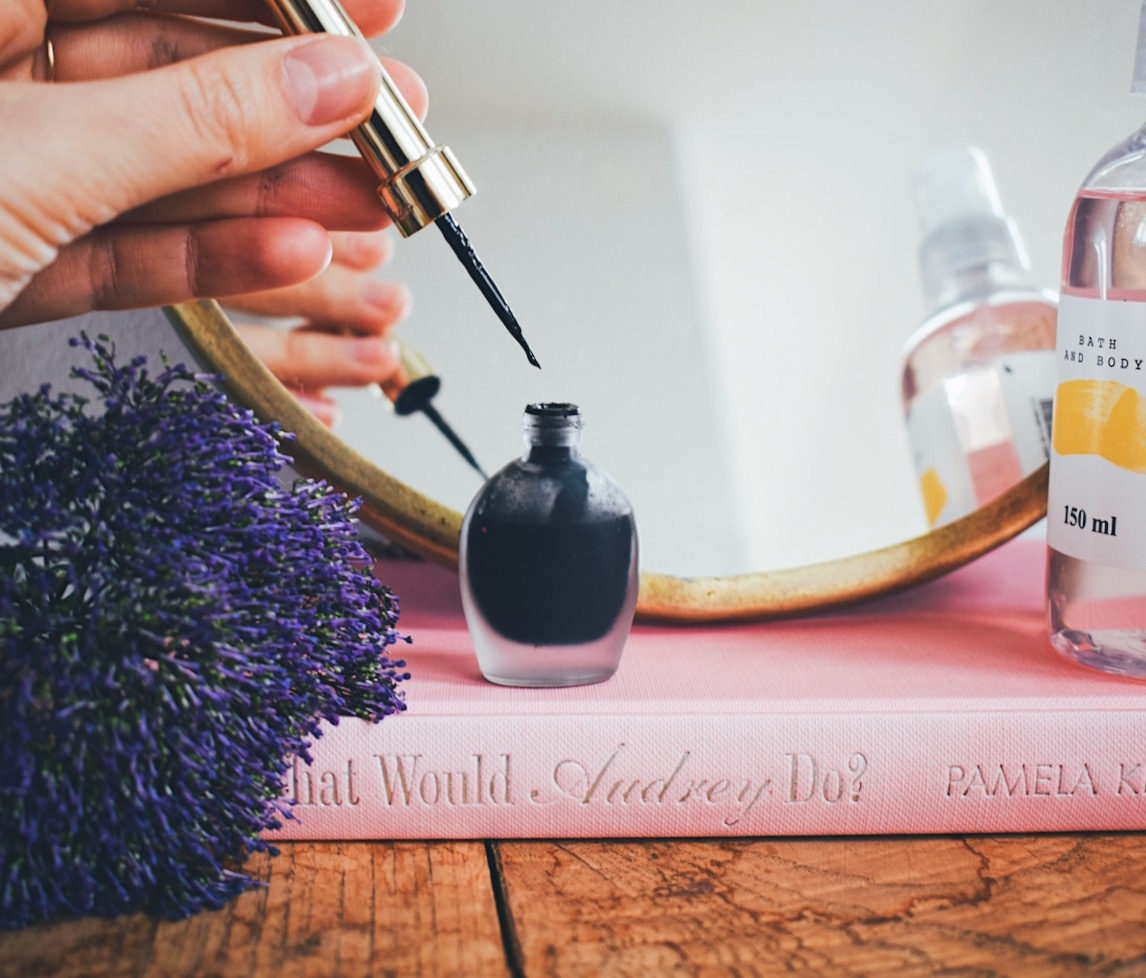 Self confidence and glitter eyeliner- Beauty product on my table