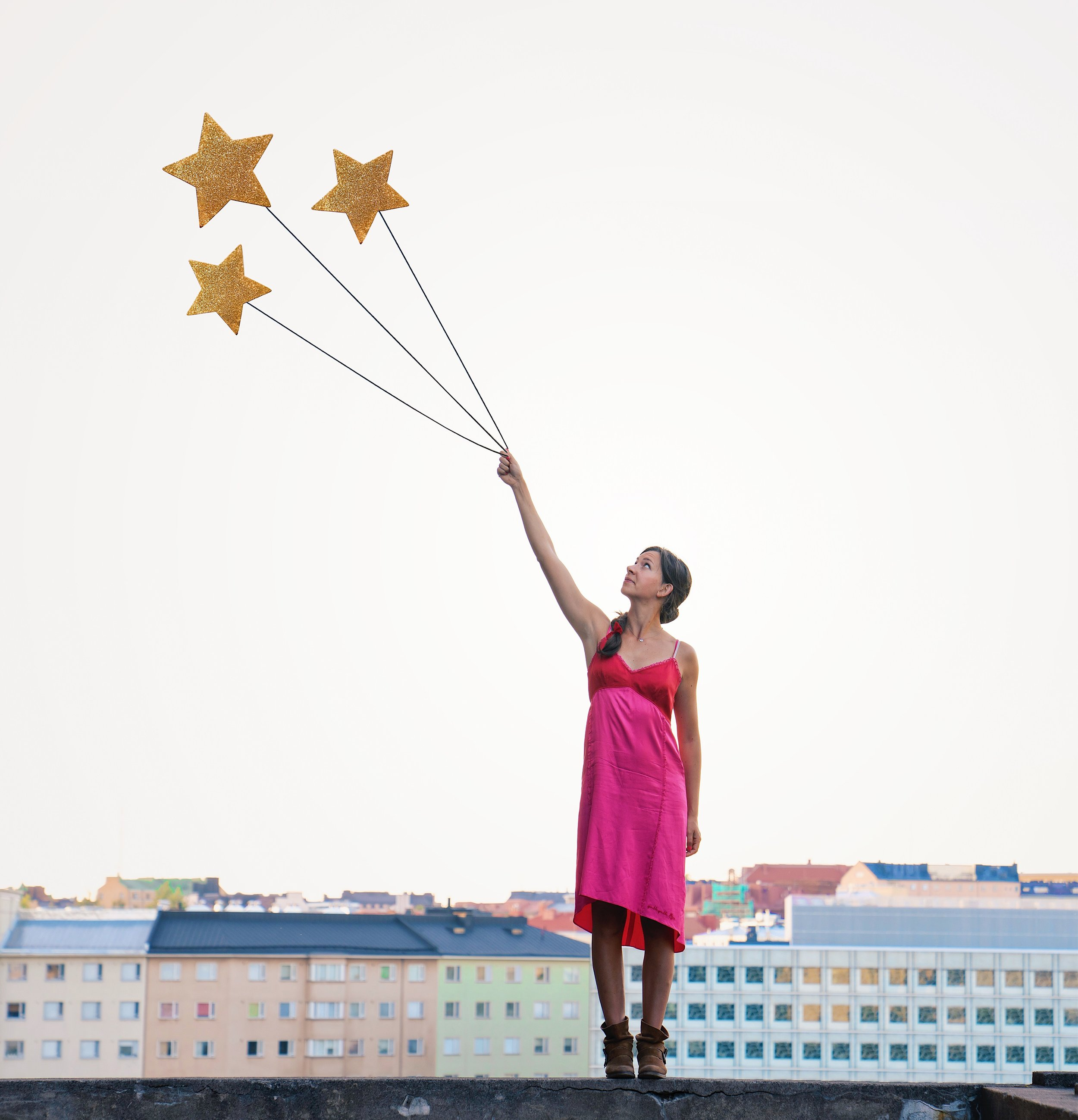 Fun Slef Portrait Ideas- Being up on the rooftop with stars in my hand, magical photography