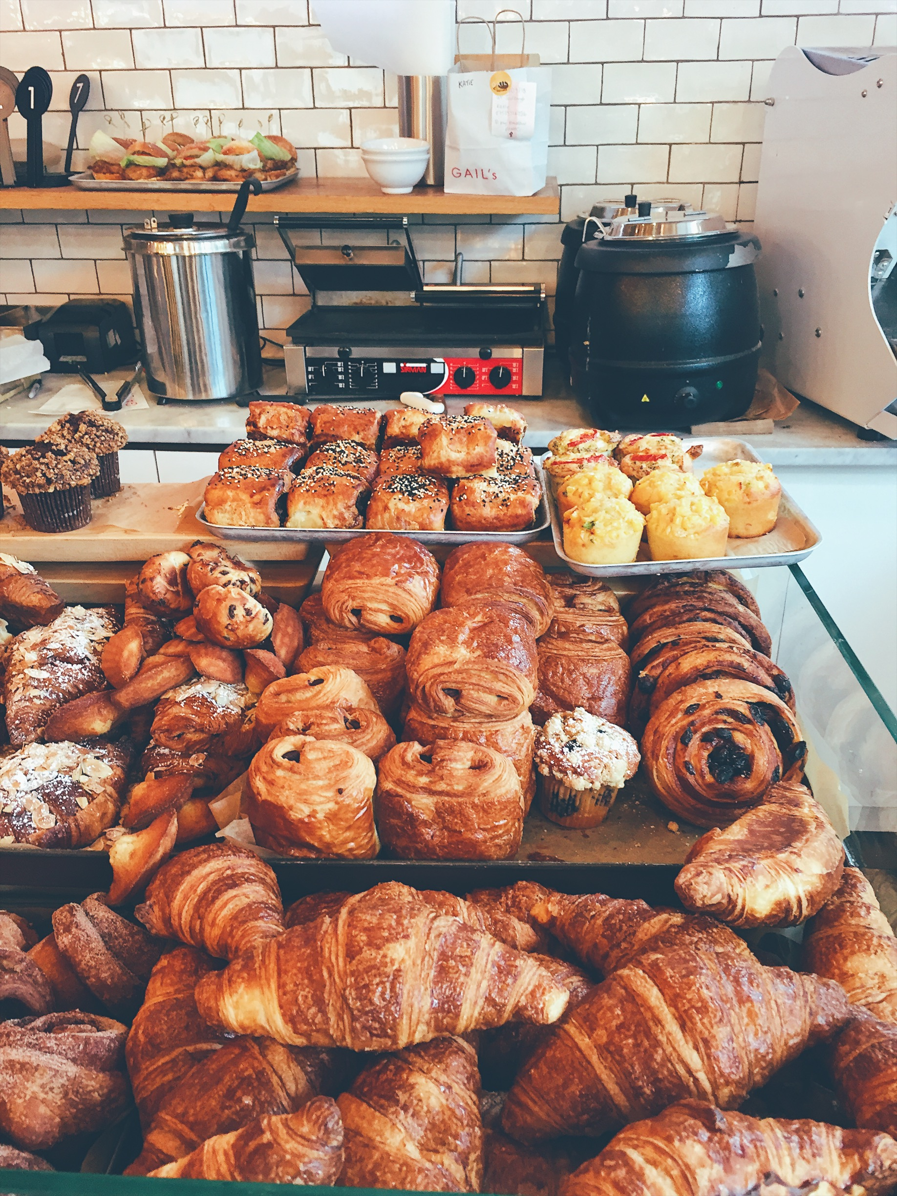 Croissants and pastries at the local bakery