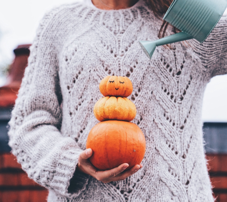 Stack of pumpkins and a cosy knit sweater