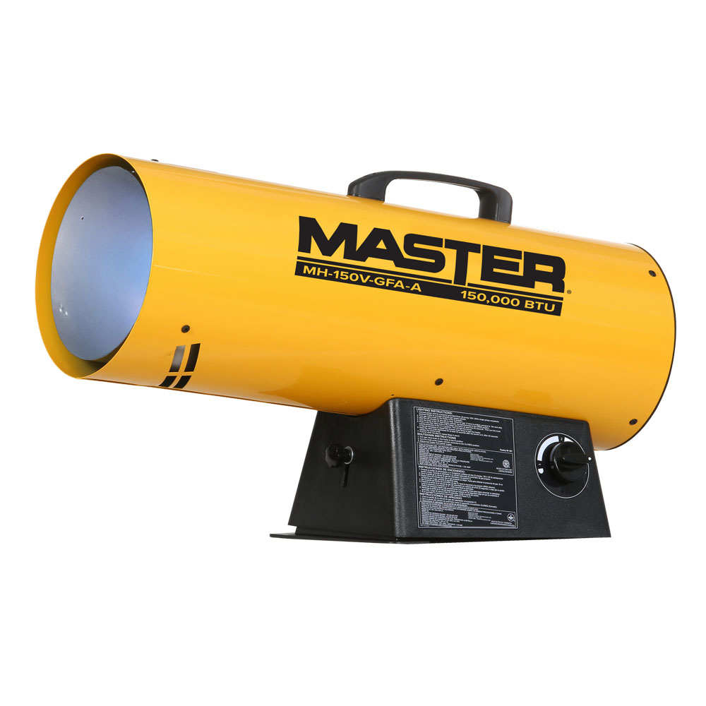 150 BTU Propane Forced Air Torpedo Heater - Trust the Master® propane forced air torpedo heater to get the job done. It will warm up to 3,800 square feet of your construction site, or wherever you need powerful, dependable heat. This high-output heater's time-tested design includes the built-in convenience and advanced safety features you expect from Master products.