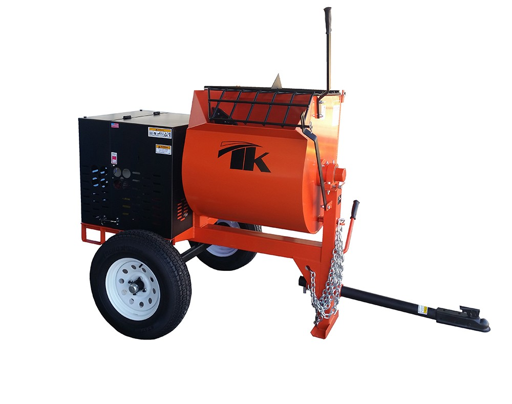 The MM10 Mortar Mixer - The TK Equipment MM10-GH8 Mortar Mixer features a 8 HP Honda GX240 Engine and a 9.5 cu. ft. capacity. This model comes with an emergency stop switch and a heavy duty safety grid with a built-in bag cutter.