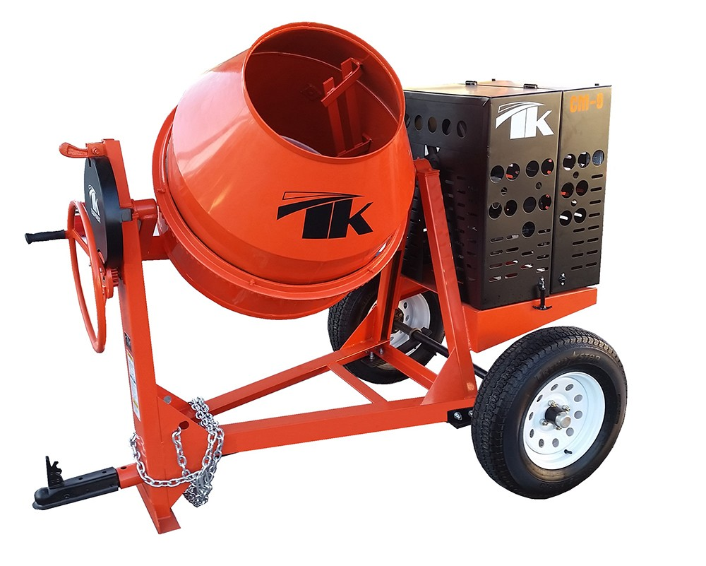 The CM9 Concrete Mixer - The TK Equipment CM9-GH8 Concrete Mixer features a 8 HP Honda GX240 Engine and a 9 cu. ft. mixing capacity. This model comes with a welded high abrasion steel drum and a reinforced A-frame with 4 gussets for extra stability