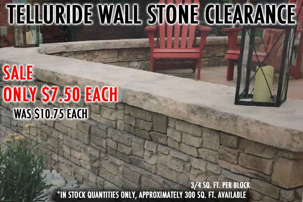 Telluride Wall Stone Clearance - A block based wall system, easy to put together! Come by our Powers Peak yard to take a look! 6210 Stone Mesa Point, Colorado Springs, CO 80922