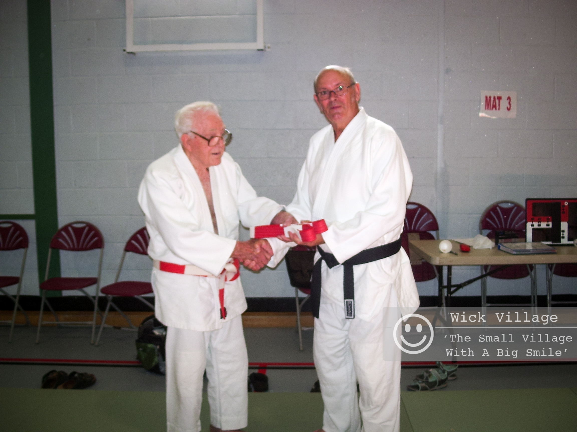 Don Ellis instructor of the Judokan Judo Club in Wick Village is awarded his red & white belt (6th dan). Presented to him by Mr Mealing (8th dan & vice president of the BJC), Don received the award at a British Judo Club course held in Oxford.