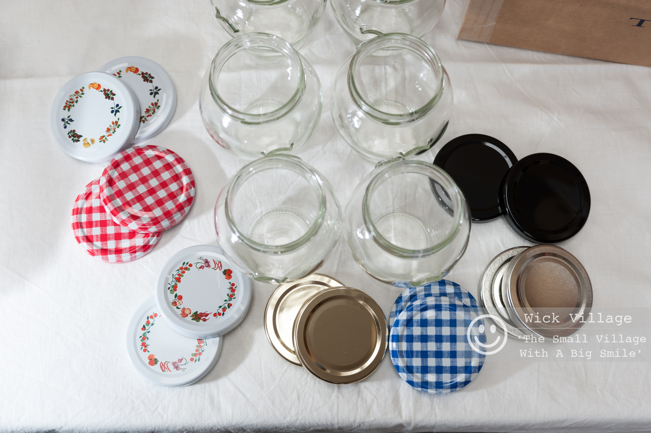 A very small selection of some of the many jam jars and lids  The Bottle And Jar Company  sells to their customers.Photo © Scott Ramsey  www.scottramsey.co.uk