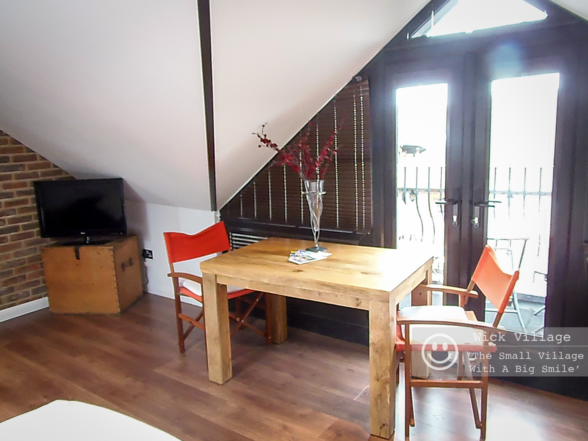 The interior of Hunters Hide Self-Catering Apartment in Lyminster, West Sussex.