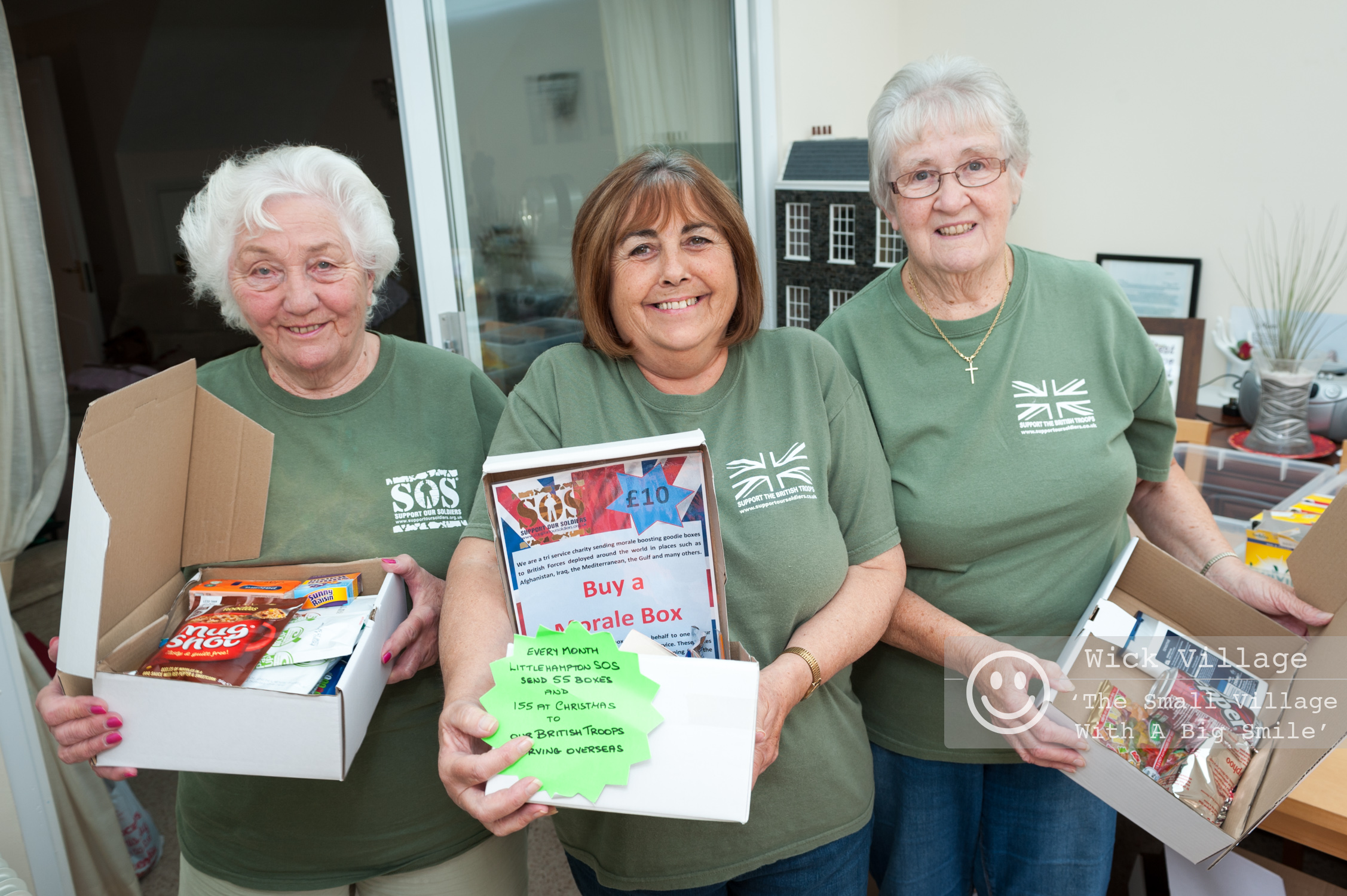 Penny Keen, the Littlehampton area coordinator for Support Our Soldiers, and volunteers Heather Hodges and Brenda Lander. Photo © Scott Ramsey/Wick Village Traders Association.