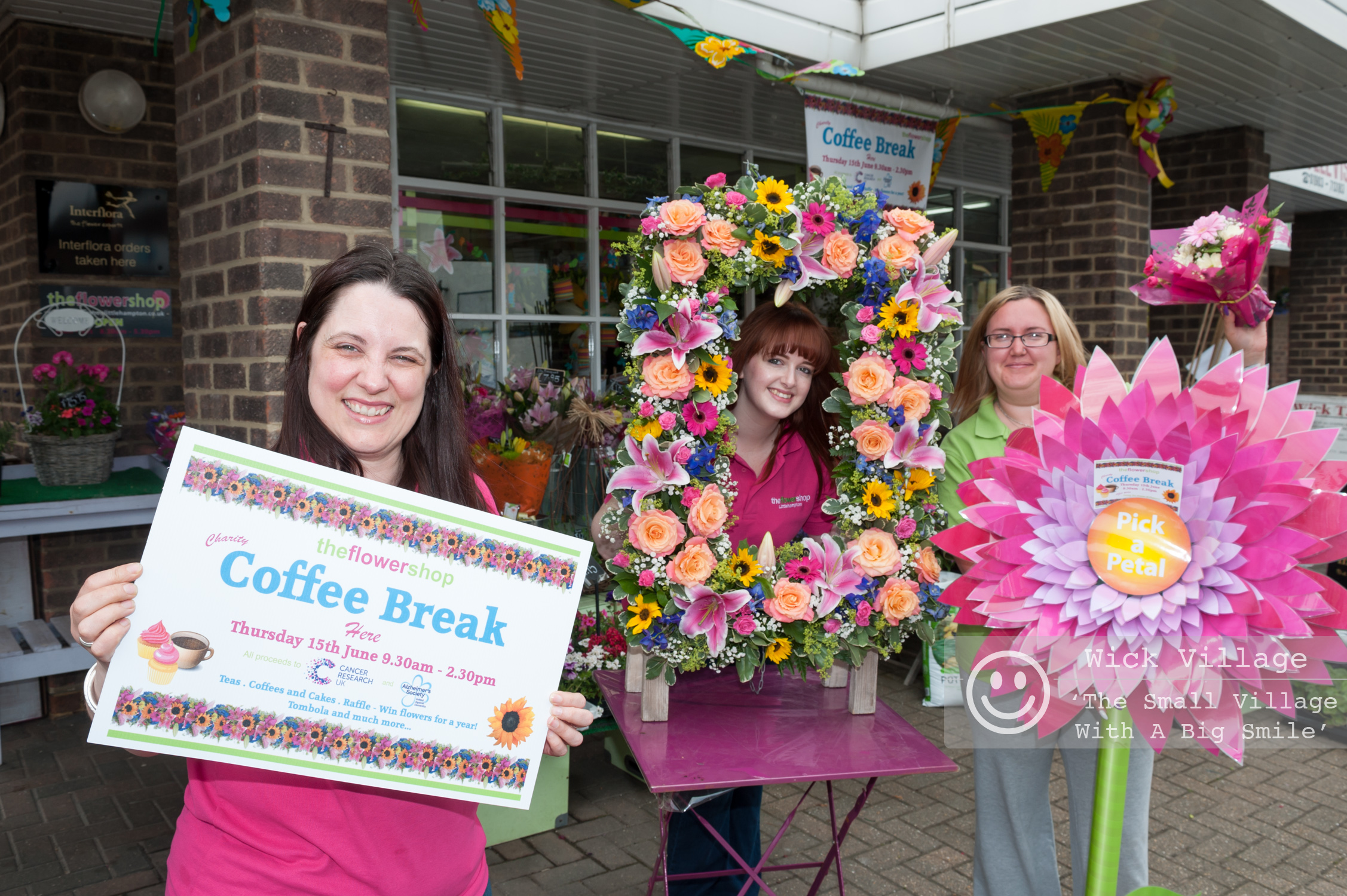 The staff at The Flower Shop in Wick Village, Littlehampton often hold events to raise money for charity. Photo © Scott Ramsey / Wick Village Traders Association.