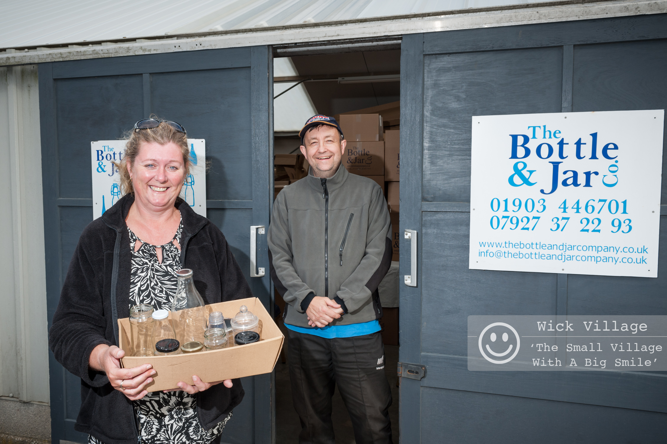 Kathy Vowles and Andy Woods from The Bottle & Jar Company outside their business premises in Wick, Littlehampton. Photo © Scott Ramsey/Wick Village Traders Association.