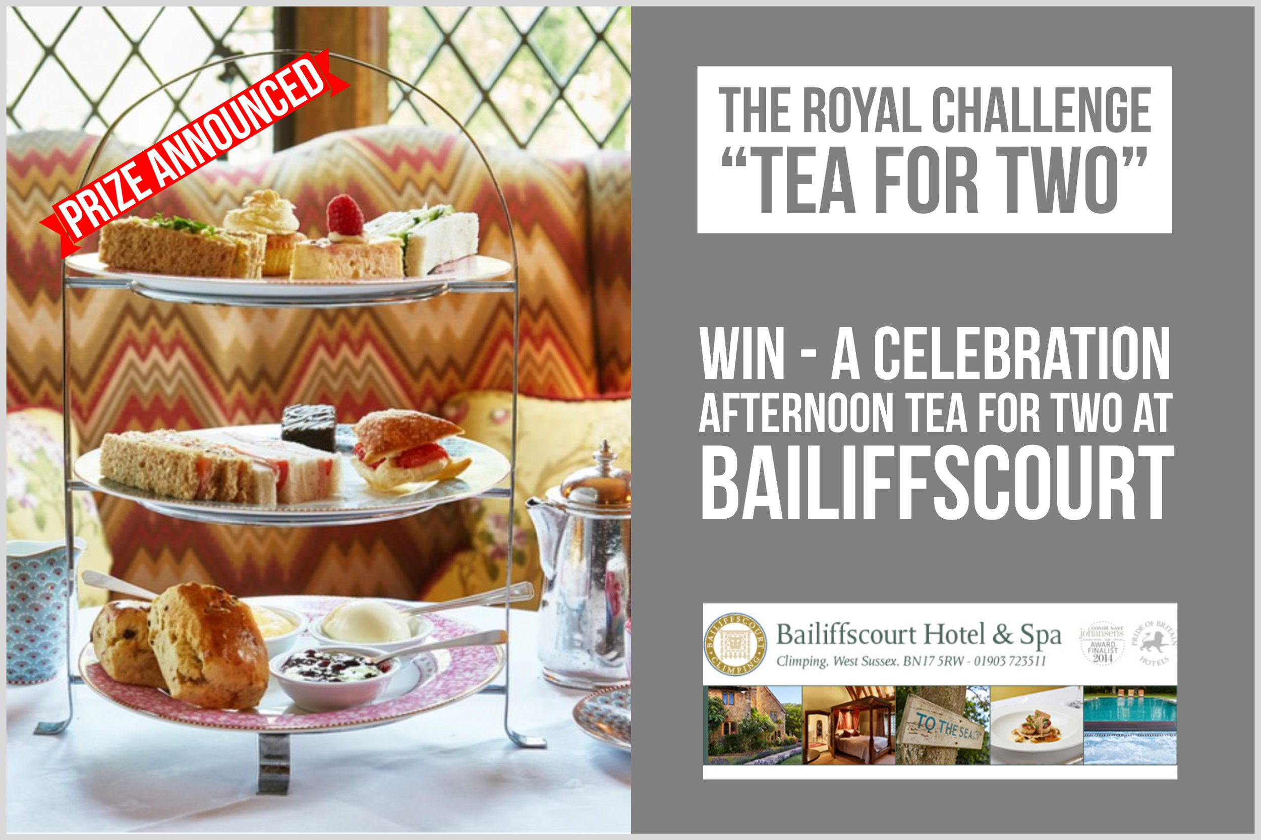 Take part in the Wick Village Royal Challenge Tea For Two and be in with the chance of winning a Celebration Afternoon Tea for Two at Bailiffscourt.