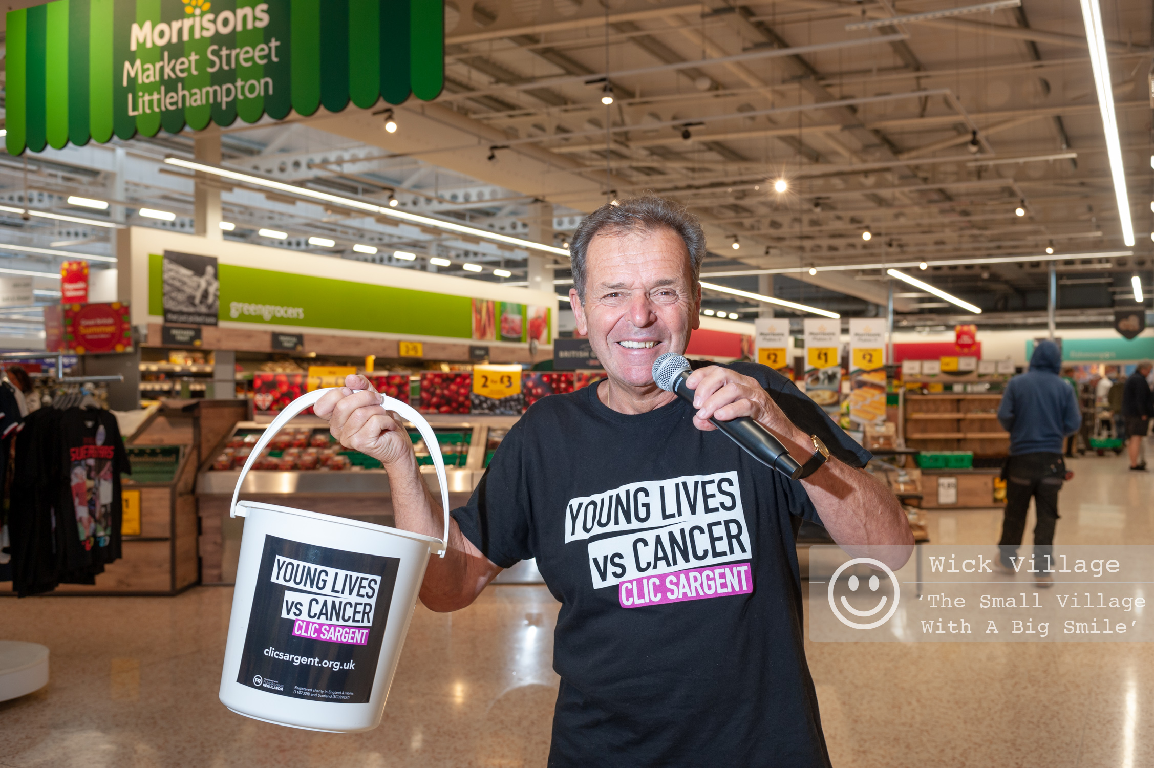 Charity supermarket singer Geoff Davis at the Morrisons store in Littlehampton, West Sussex. Photo's ©  Scott Ramsey - Sussex Photographer  and taken on behalf of the Wick Village Traders Association.