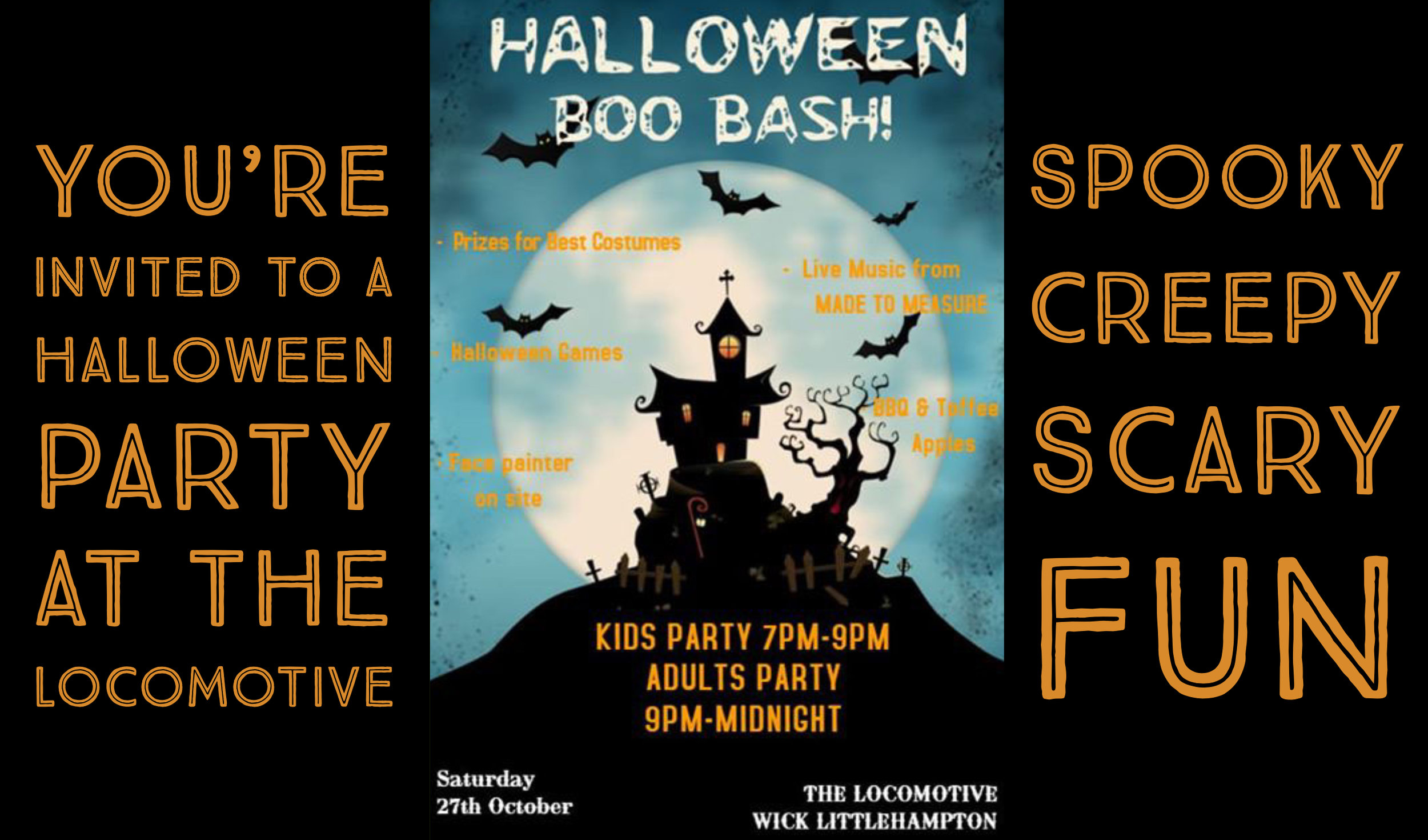 Join in the spooky Halloween fun at The Locomotive Pub in Wick Village, Littlehampton this October.