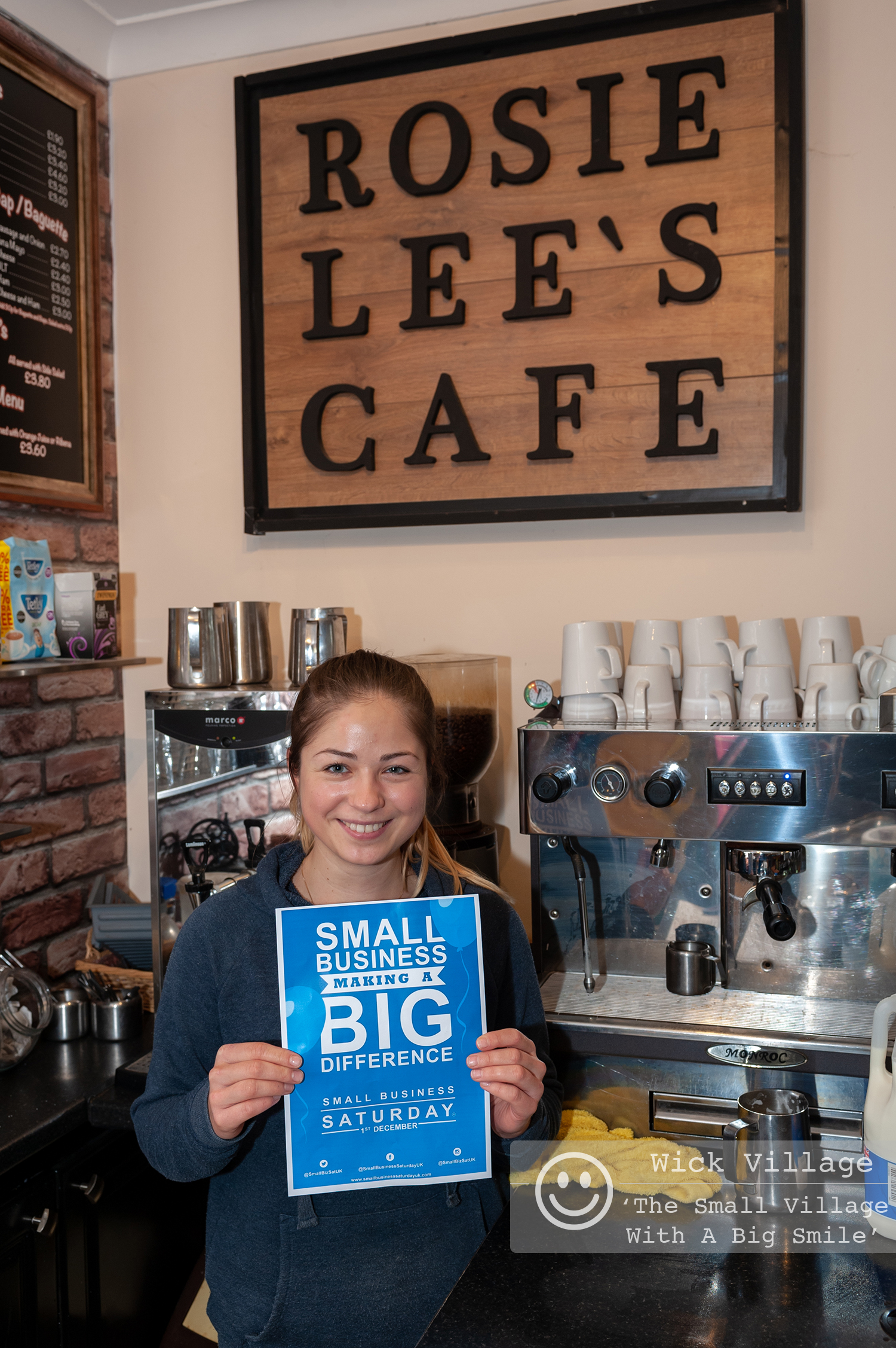 Wick, Littlehampton, West Sussex, UK. 1st December 2018. Traders in Wick Village support the Small Business Saturday campaign. In Pic: Rosie Lee's Cafe.