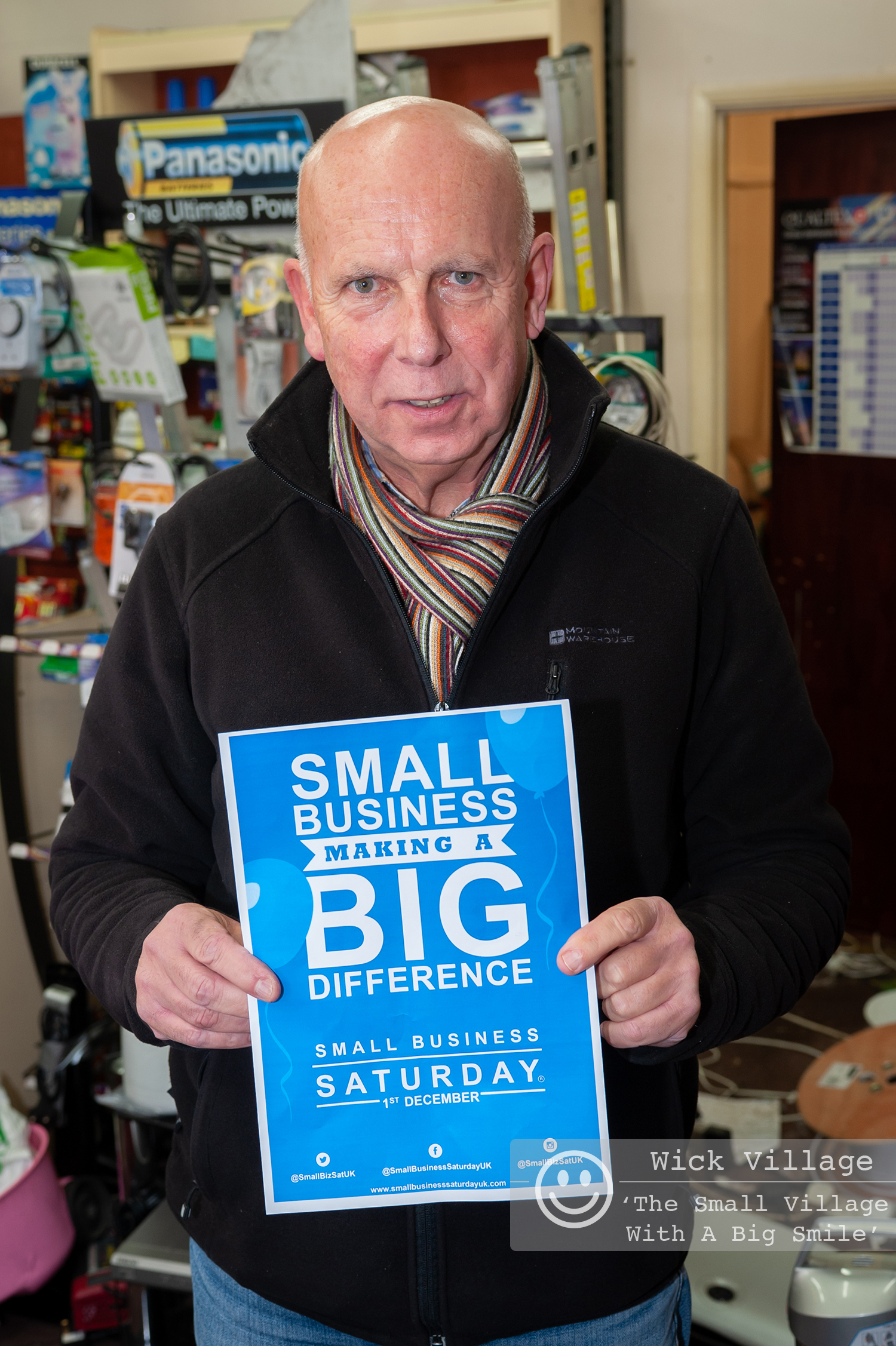 Wick, Littlehampton, West Sussex, UK. 1st December 2018. Traders in Wick Village support the Small Business Saturday campaign. In Pic: Wick Television.