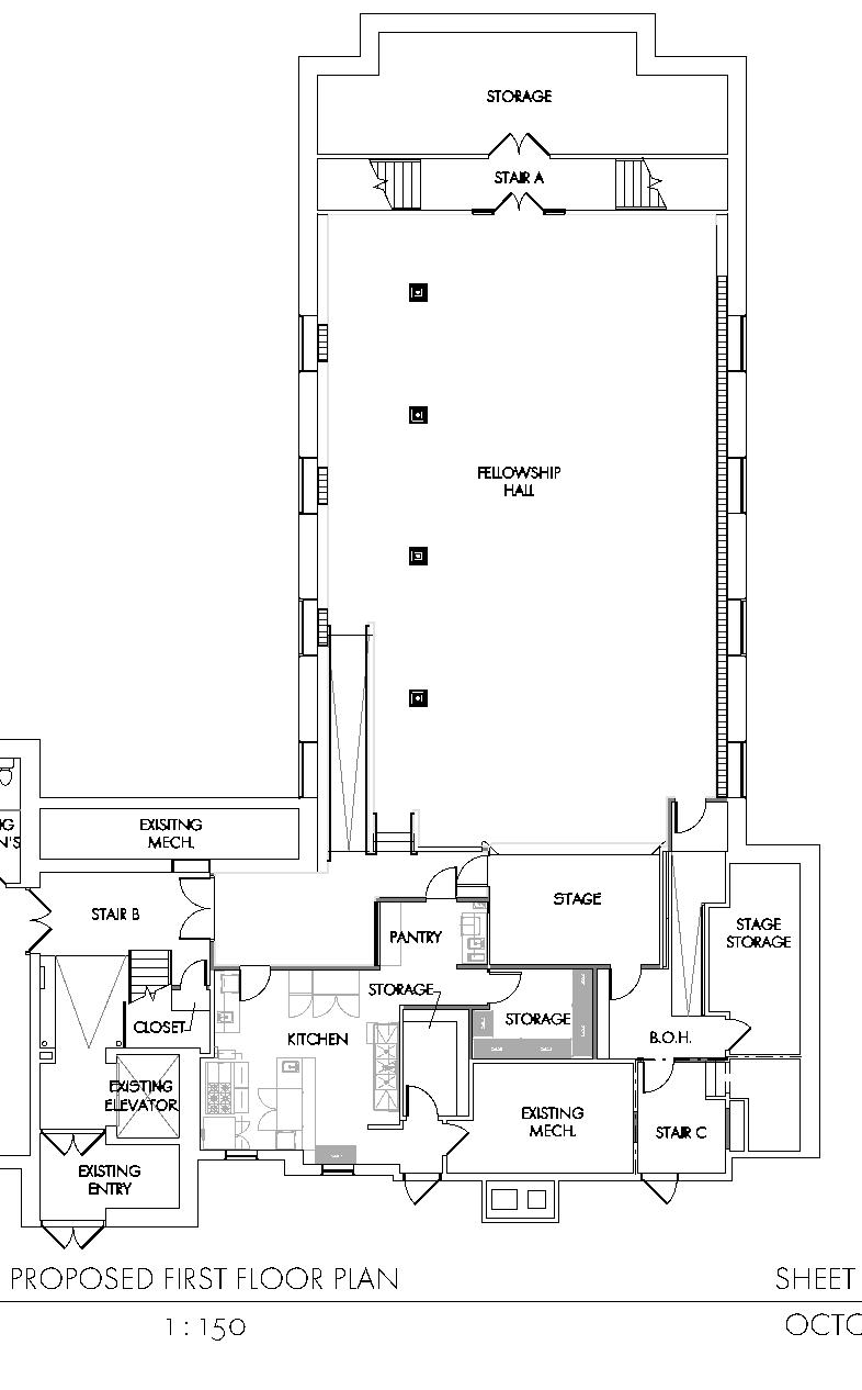 Fellowship Hall/Kitchen detail