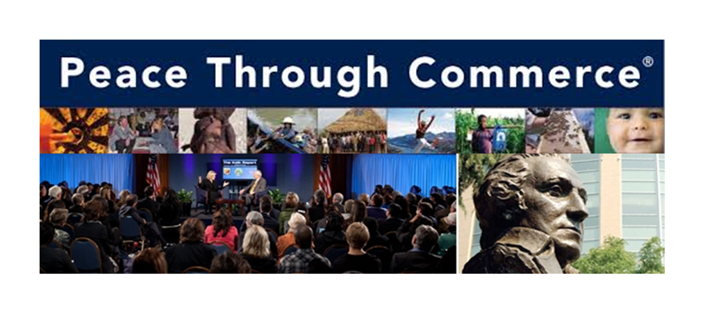 The Peace Through Commerce conference at George Washington School of Business. GWSB was the nation's first business education program to weave themes and values throughout its curriculum, including: business ethics and leadership; CSR;environmental sustainability; entrepreneurship; and international business and globalization.
