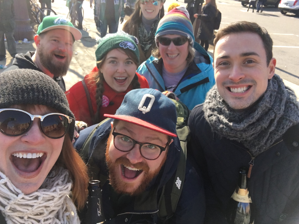 The author, Molly Devlin and friends celebrating the Philadelphia Eagles' Super Bowl win.