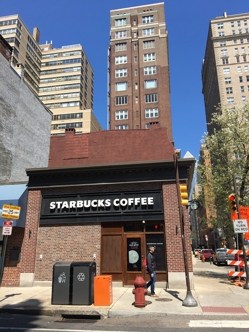 The scene of last week's nationwide outrage at The Starbucks 18th and Spruce.