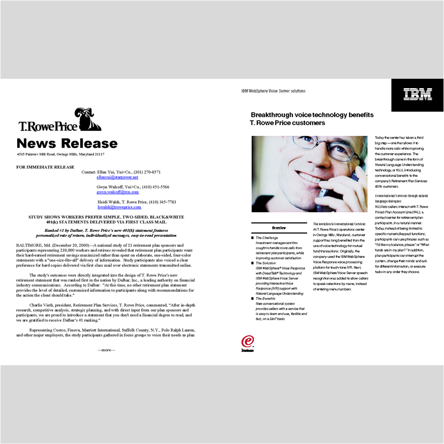 EMPLOYEE COMMUNICATIONS    T.Rowe Price 's award-winning retirement services report for employees, distributed nationally to human resources executives across the country