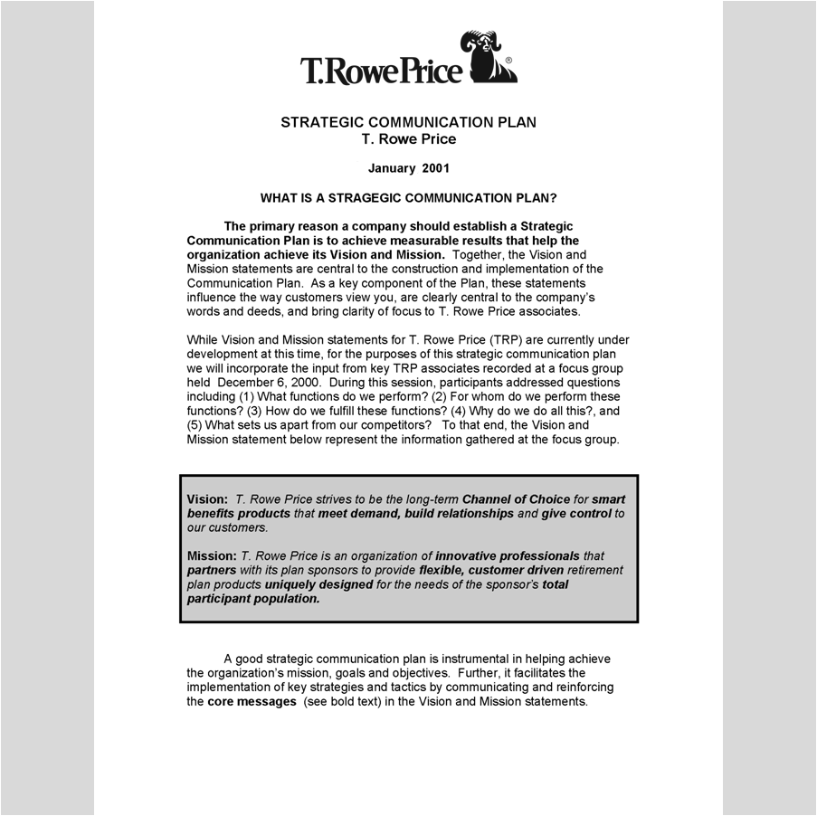 Internal / External Communications of Strategic Plan    T.Rowe Price strategic plan, vision and mission statement