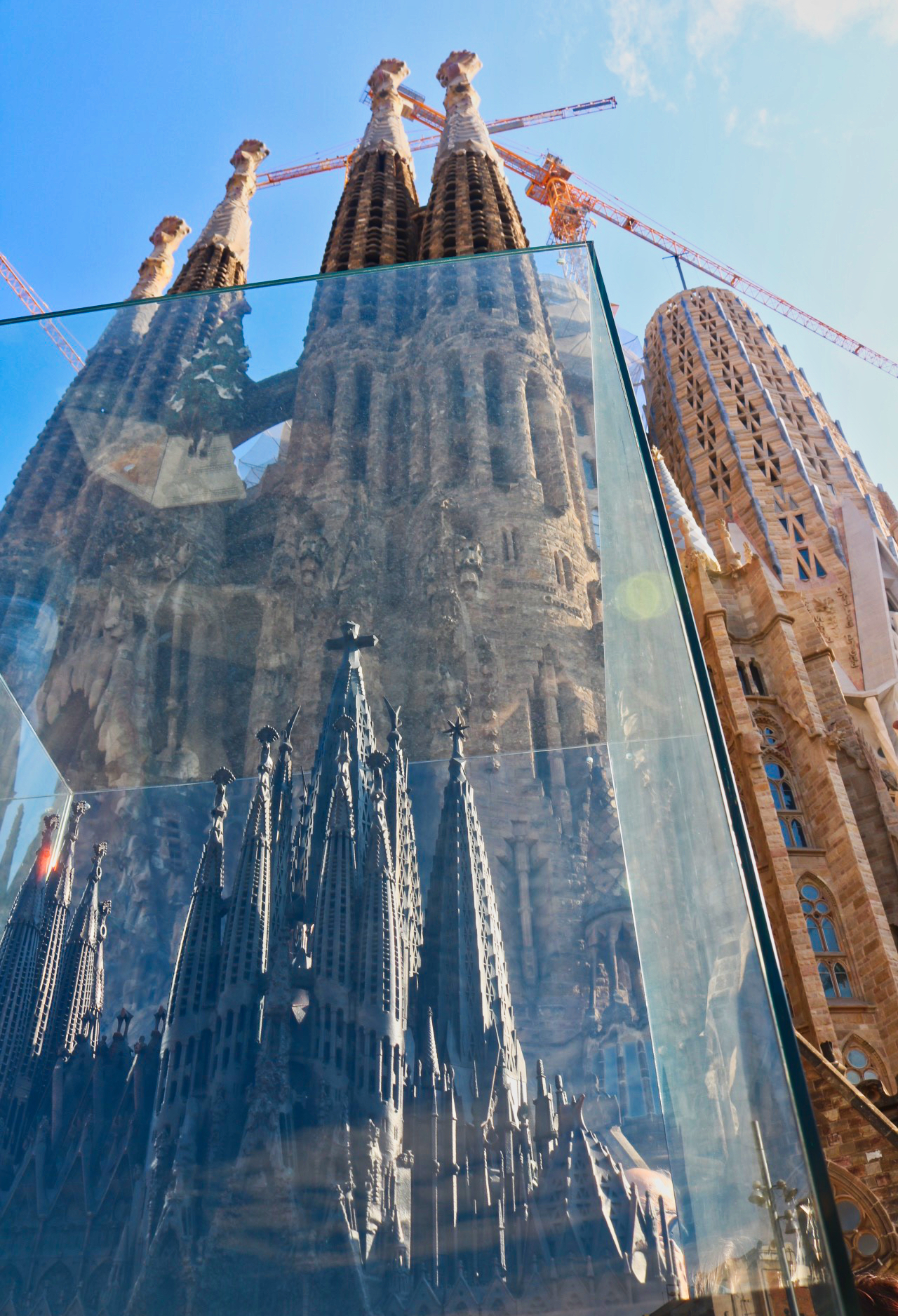 A model of the completed Sagrada Família stands in front of the in-progress church. This photo was taken in July at my first visit inside the building.   Photo: Courtany Schick