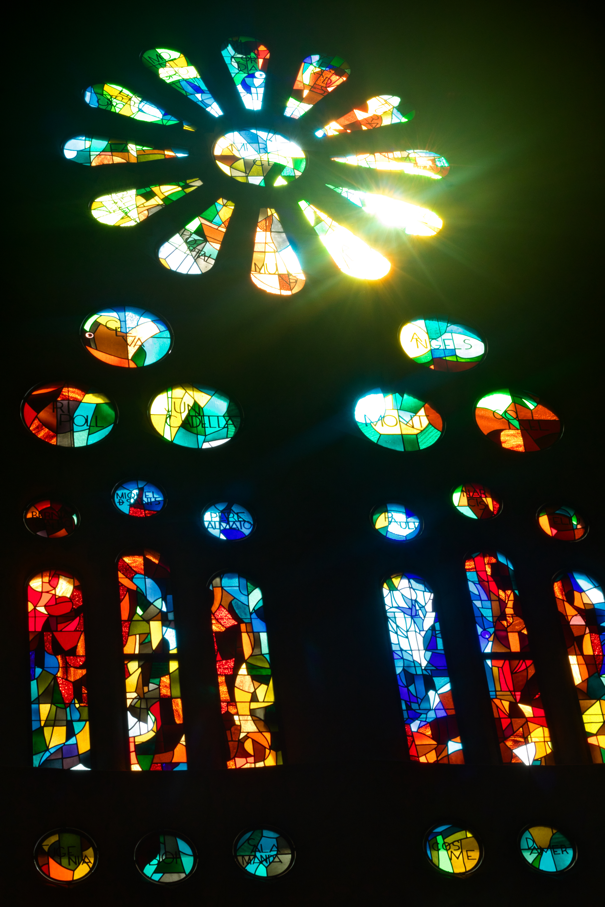 Light shines through the stained glass onto the floor, as shown in the following image.   Photo: Courtany Schick
