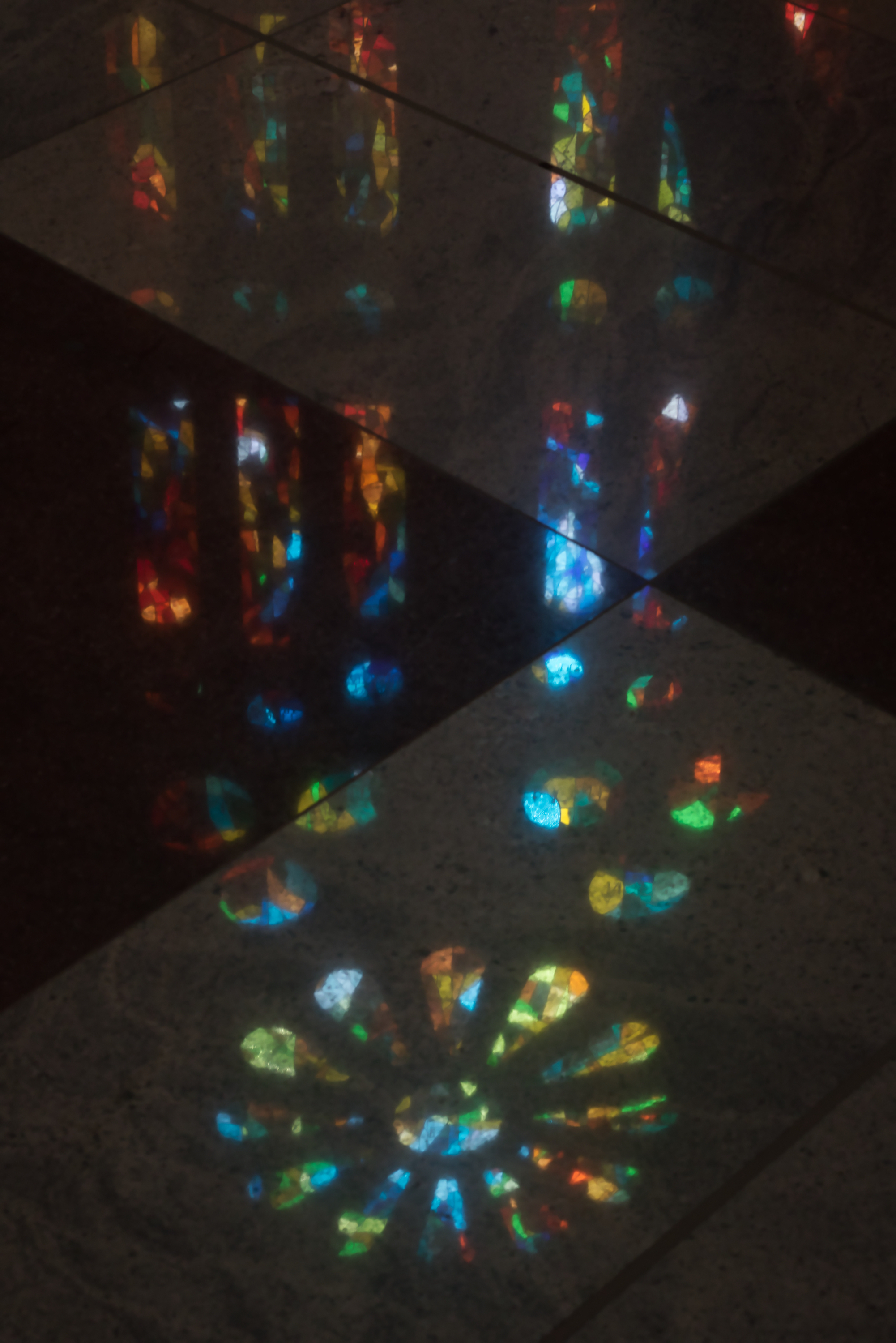 """In the words of Gaudí, """"Glory is light, light gives joy and joy is the happiness of the spirit."""" It truly brought me joy to take this photo of the stained-glass reflection.   Photo: Courtany Schick"""