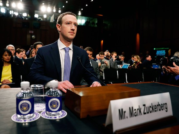 Mark Zuckerberg, founder and CEO of Facebook, testifies before Congress concerning Facebook's misuse of user's private data to third-party companies. Source:  WIRED .