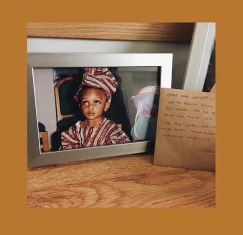 Toyin Akinwande on her birthday, wearing a Nigerian native outfit