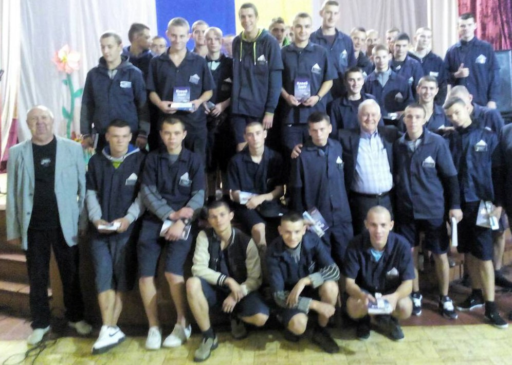 Pastor Mazepa (far left) with inmates