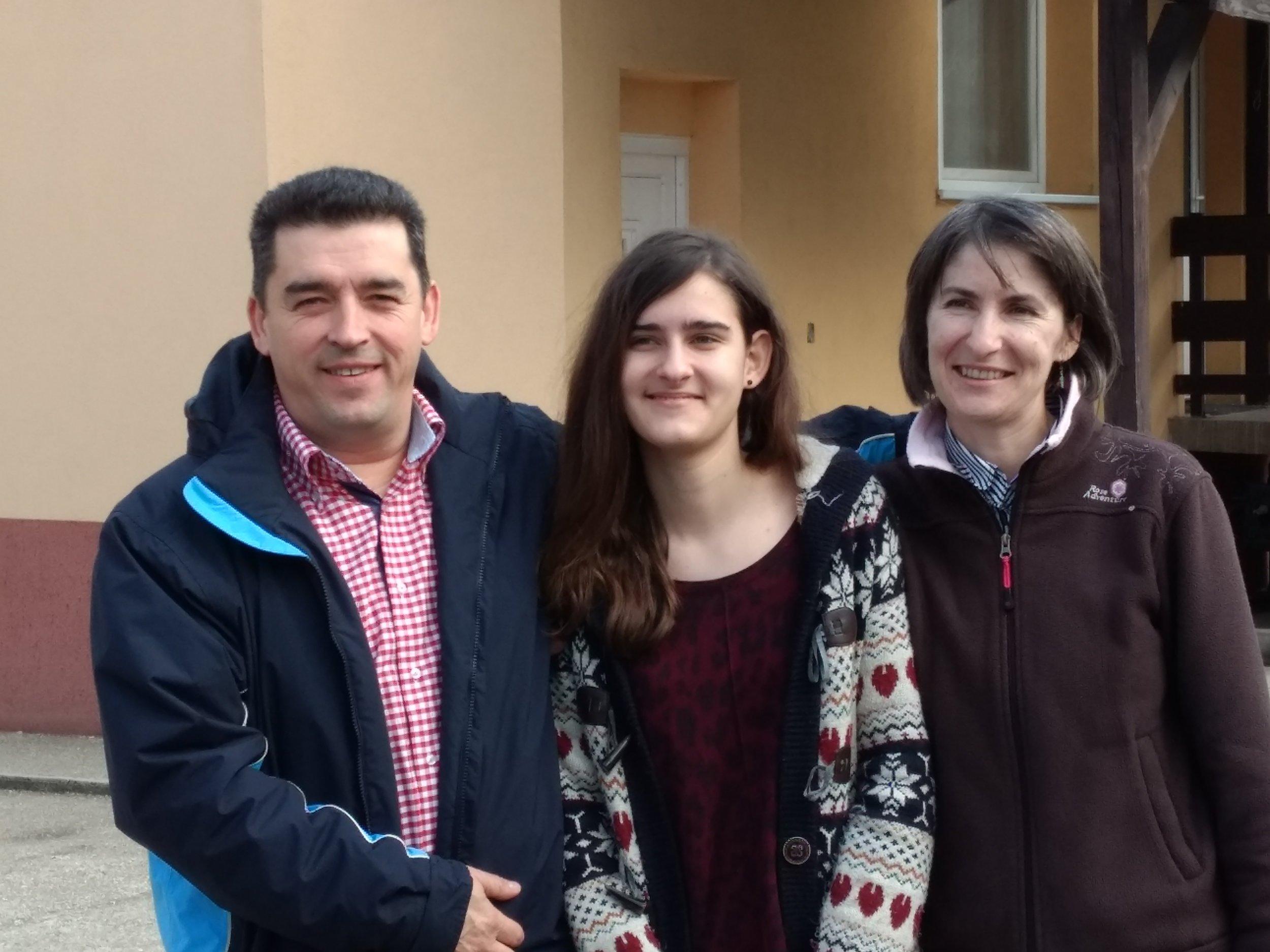 Pastor Imre Szoke, wife Khristina and daughter