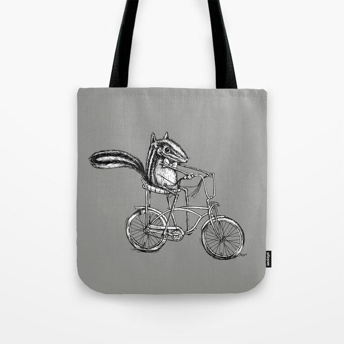 Ride On Chipmunk Tote Bag