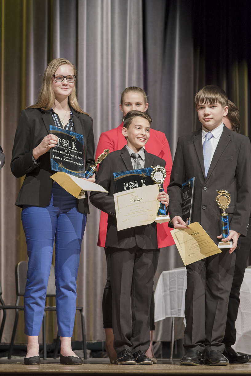 Best-in-Fair Senior and Junior Division Awardees at the Polk Regional Science and Engineering Fair