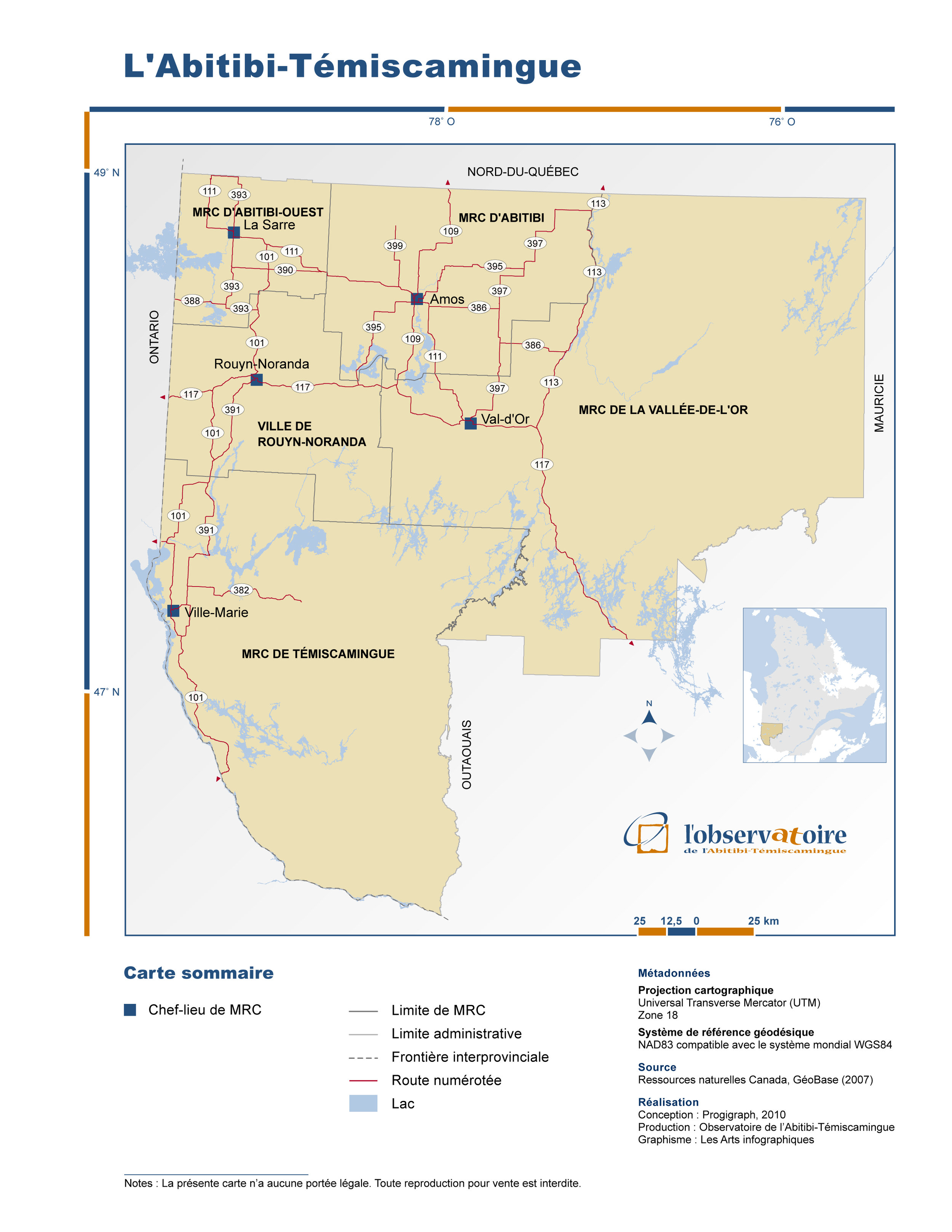 Carte de l'Abitibi-Témiscamingue (source: l'Observatoire de l'Abitibi-Témiscamingue)