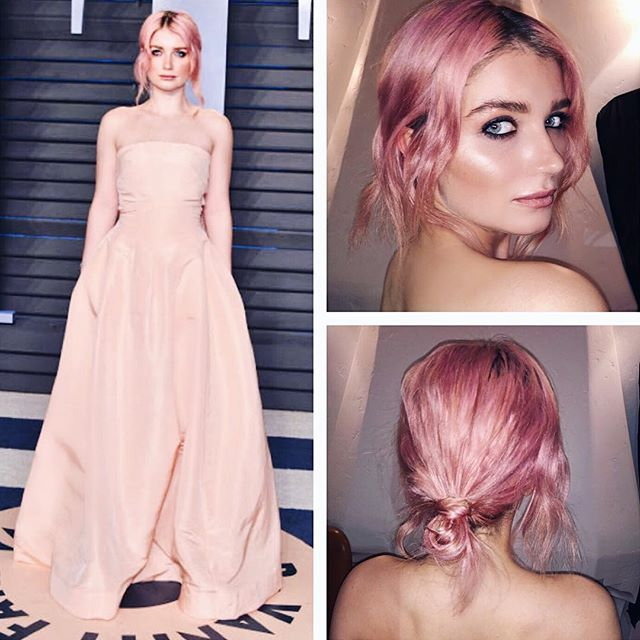 💓 Pink Punk Princess 💓 @memphisevehewson at the @vanityfair #oscar party last night! I styled her #pinkhair with the @thebeachwaver Coast Pro and S1 💕