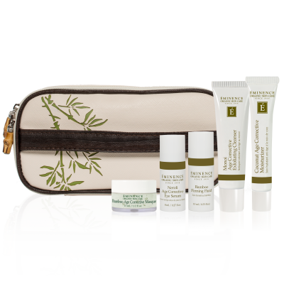 """Eminence Age Corrective Starter Set    """" Cleanse, treat, revitalize and moisturize to correct the appearance of aging with powerful ingredients formulated to create an ageless look with the complete Eminence Age Corrective routine. A luscious combination of bamboo, monoi, coconut and neroli infuse the skin with nourishing properties while Natural Retinol Alternative and Swiss Green Apple Stem Cell Technology repair the signs of aging."""" 79 dollars"""