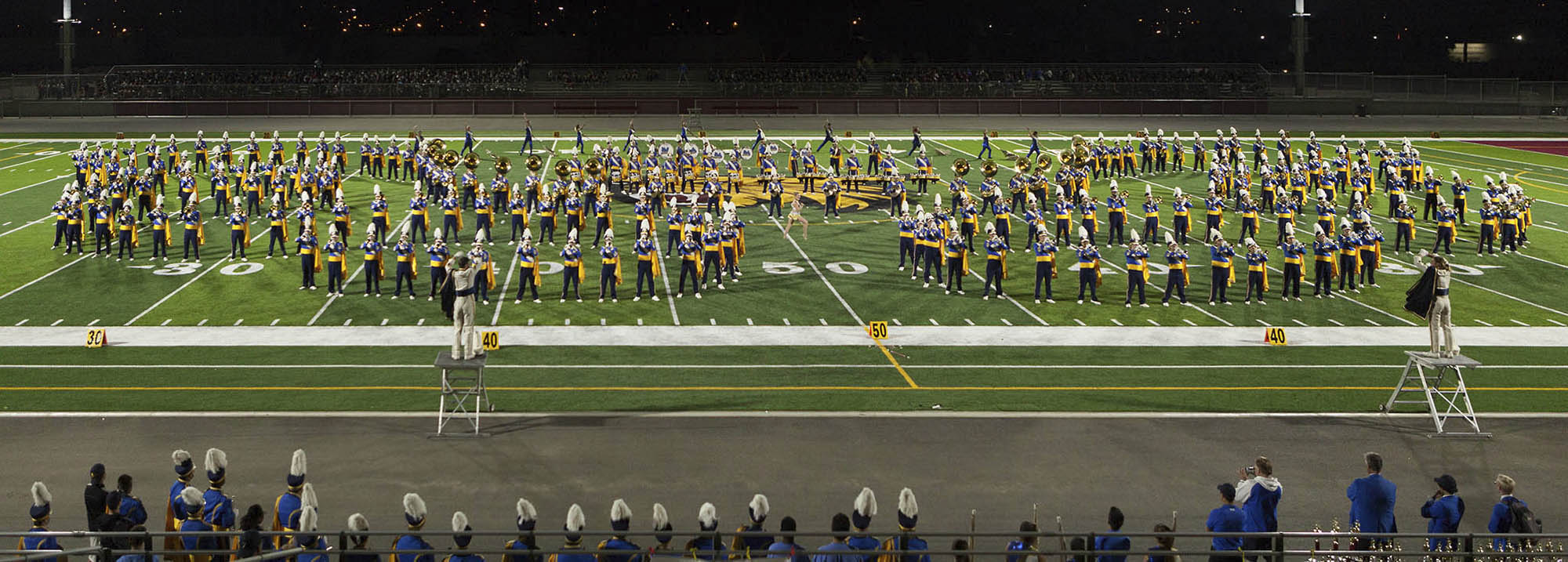 The 270-member UCLA Bruin Marching Band, performing during the 2016 Golden State Field Classic.