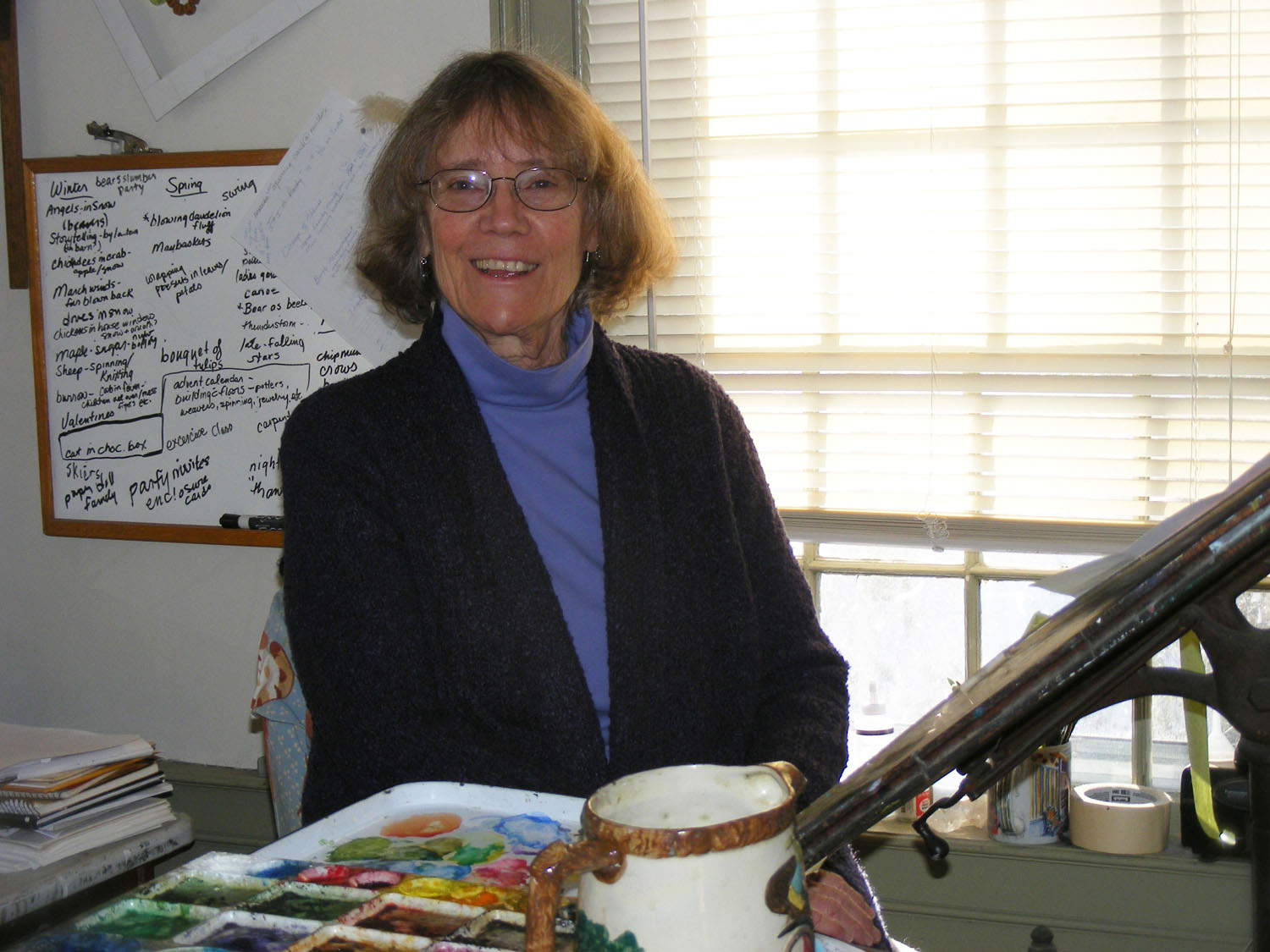 Cindy Hendrick - All Woodfield Press artwork is created by Cindy. She uses pen and ink and watercolors to create her images. Her settings are taken from the New England woodland and coastal landscape and show her love of nature, gardening, and the animals that frequent her environment.