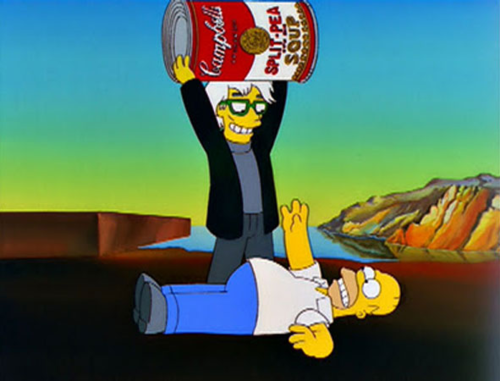 Andy Warhol and Homer Simpson | Image courtesy of The Simpsons and Fox