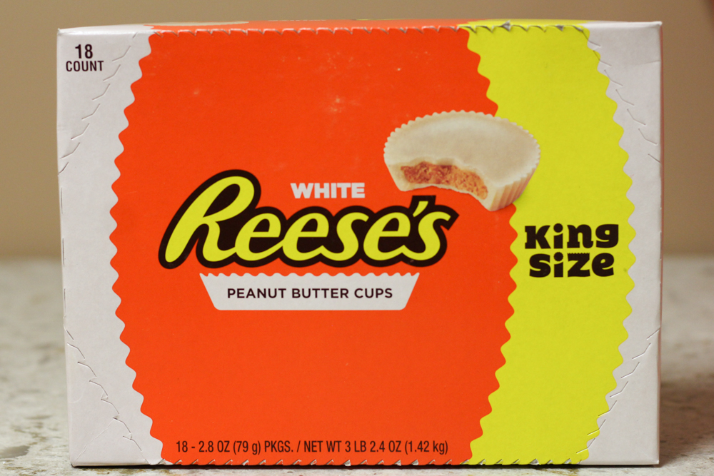 WHITE REESE'S PEANUT BUTTER CUPS KING SIZE  18-2.8oz -  $14.79    Compared to $34.63 at Walmart