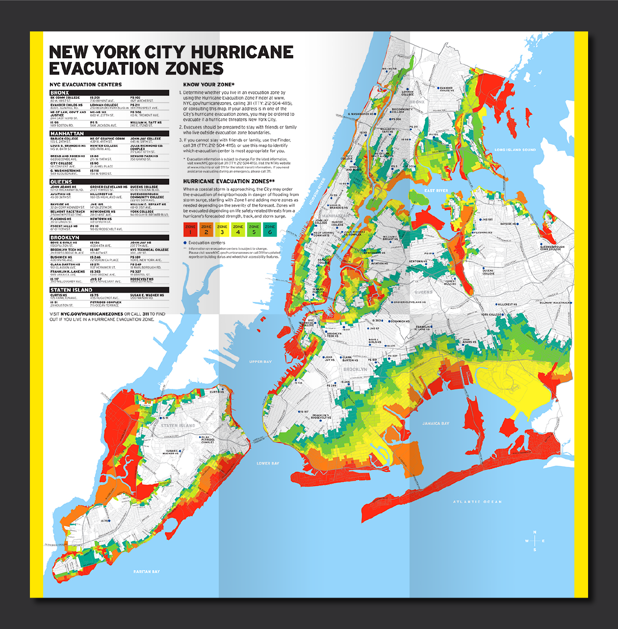 This map uses colored zones – 1 through 6 –to show which areas are at higher risk of evacuation in the event of a hurricane. Those colors are represented in order in the Know Your Zone logo.
