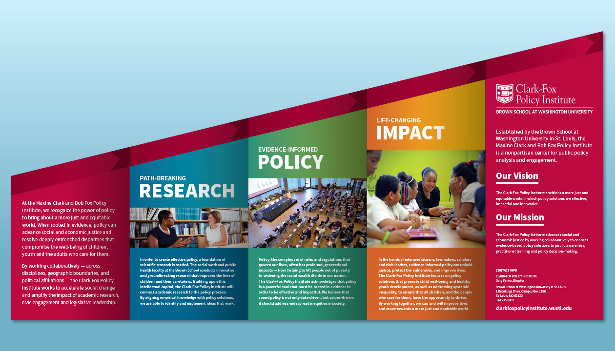 """Clark-Fox Policy Institute """"Amplifying Impact"""" – Inside of brochure"""