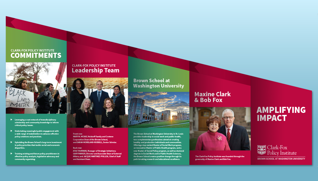 """Clark-Fox Policy Institute """"Amplifying Impact"""" – Outside of brochure"""