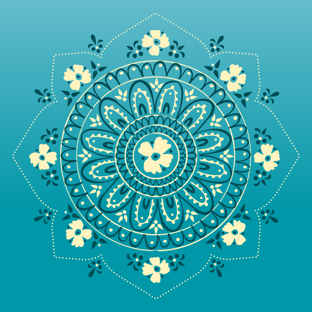 """Hand-illustrated mandala featuring ingredients in Calmer Sutra's """"Peppermyntle"""" Tea"""