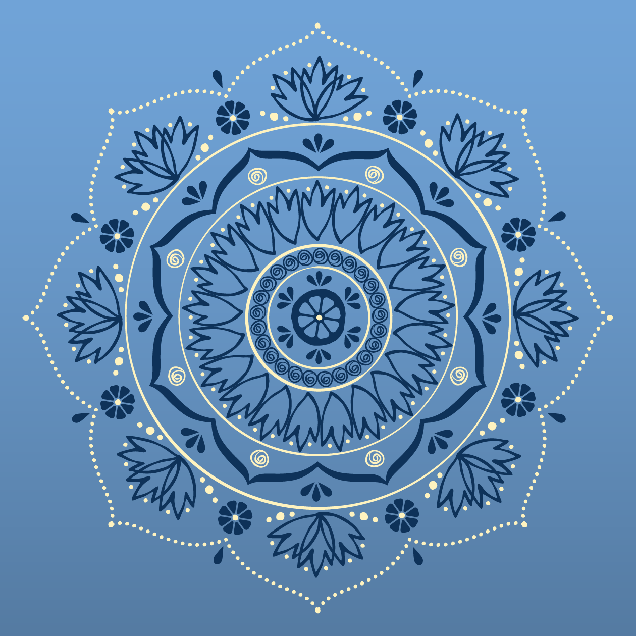 """Hand-illustrated mandala featuring ingredients in Calmer Sutra's """"Lady Melba"""" Tea"""