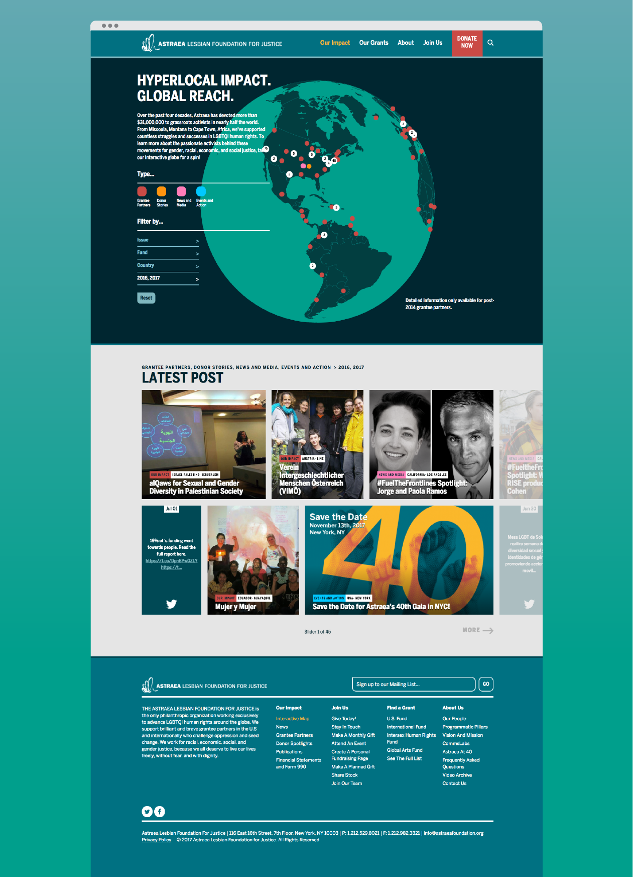 """""""Our Impact"""" full-page view"""