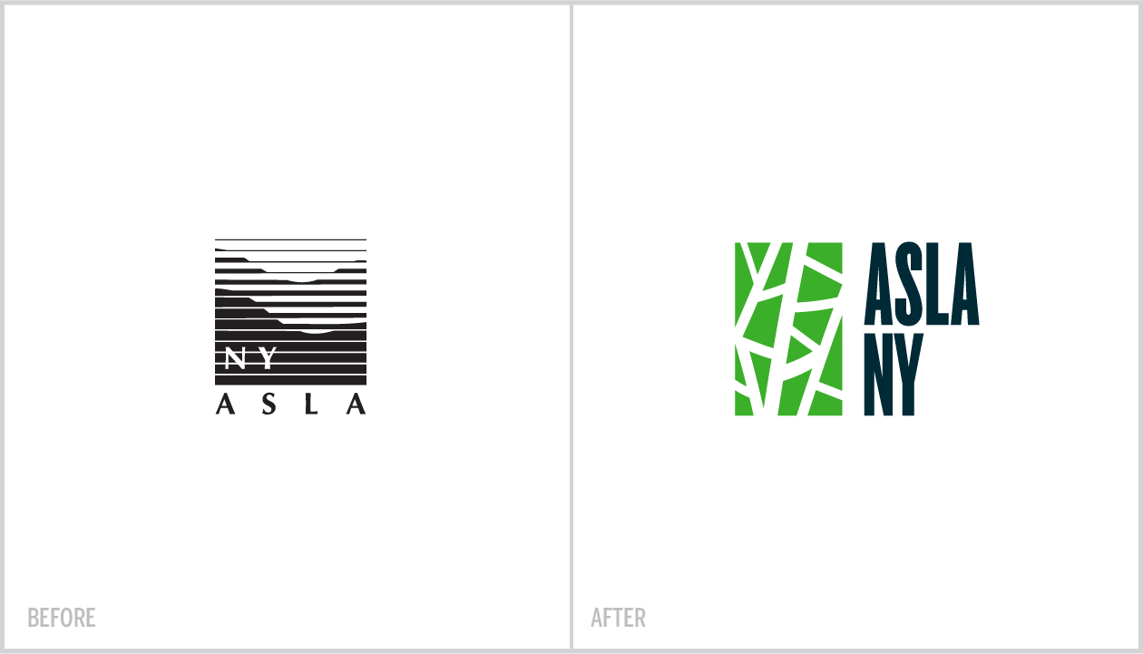 LEFT:  ASLA is a national organization. Each chapter typically modifies the parent logo by adding the city name as shown here.   RIGHT : The New York chapter wanted an original mark to represent itself as one of the nation's most exciting and innovative cities in the world of landscape architecture.