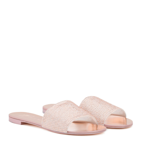 These slides are chic! There is no better way to dress up a look at the pool or beach than Pink Suede Flat slides from GZ with crystals. Pictures do not do these beautiful slides justice!