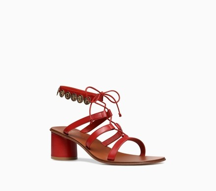 """J'adore these beautiful Dior Sandal in red calfskin leather! This gorgeous pair features adorned with """"Antique Gold"""" finish """"J'Adior"""" medallion detail."""